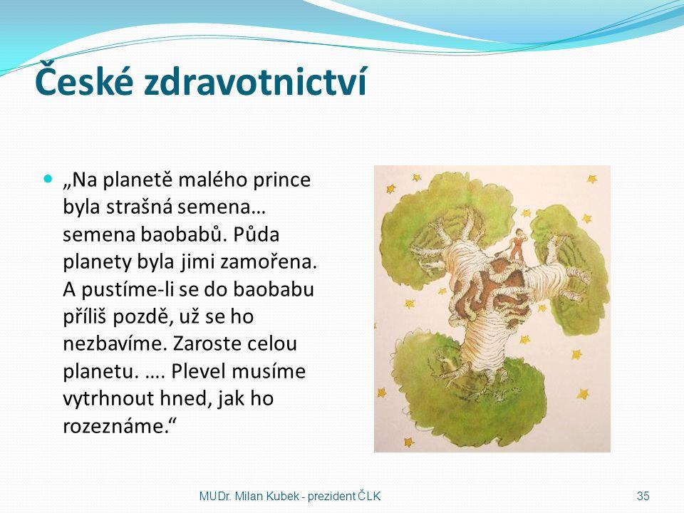 """České zdravotnictví """"Na planetě malého prince byla strašná semena… semena baobabů. Půda planety byla jimi zamořena. A pustíme-li se do baobabu příliš"""