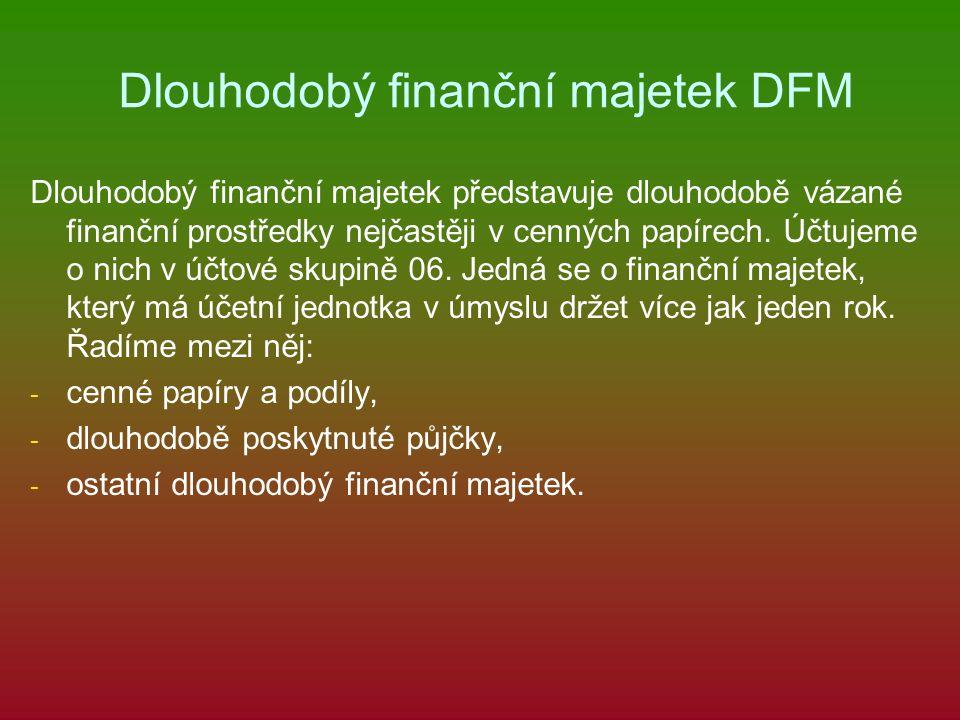 Dlouhodobý finanční majetek DFM Dlouhodobý finanční majetek představuje dlouhodobě vázané finanční prostředky nejčastěji v cenných papírech.