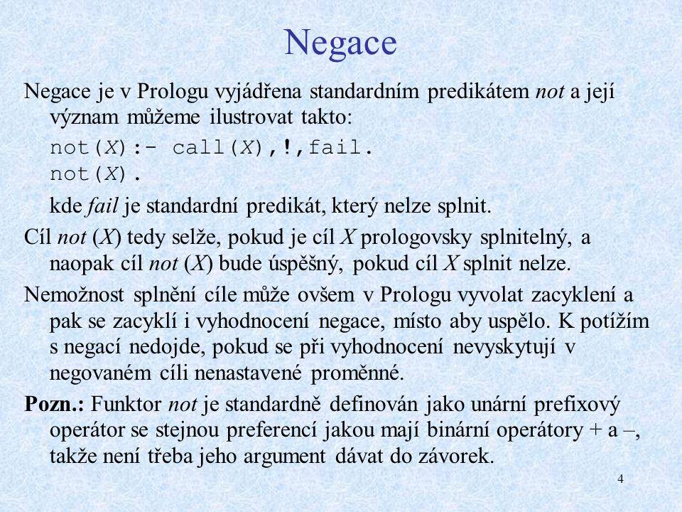 4 Negace Negace je v Prologu vyjádřena standardním predikátem not a její význam můžeme ilustrovat takto: not(X):- call(X),!,fail.