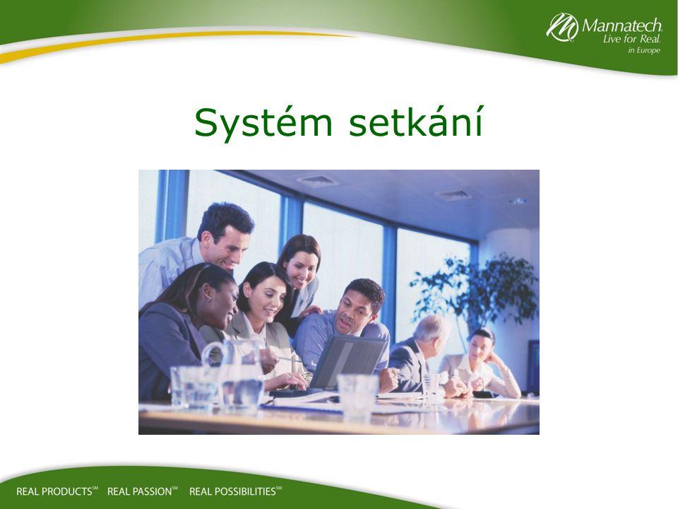 Před setkáním: –Družte se s hosty –Představte hosty Upline – mluvte pozitivně o Upline –Začněte včas Během setkání: –Sledujte program se zaujetím – dělejte si poznámky –Mějte respekt – nemluvte během prezentace Po setkání: –Představte hosty řečníkovi – mluvte pozitivně o řečníkovi –Zajistěte, aby hosté odešli s informačním balíčkem pro první večer –Domluvte následující setkání –Vždy Partnerům a týmu v horní organizační struktuře sdělte, kdo přivedl hosta Zůstaňte na školení – pomáhá to duplikaci Pokyny pro obchodní partnery Účel setkání