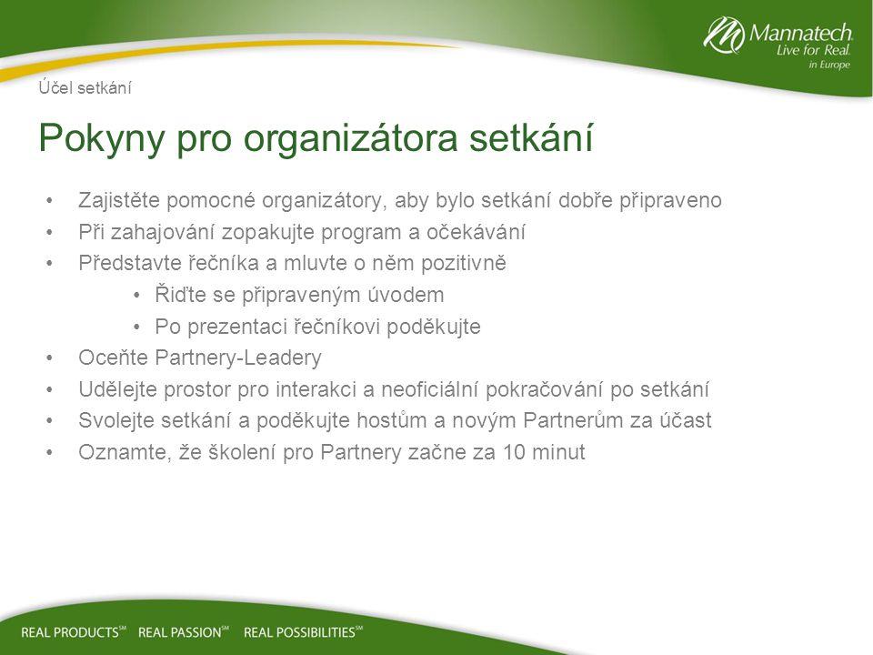 Zajistěte pomocné organizátory, aby bylo setkání dobře připraveno Při zahajování zopakujte program a očekávání Představte řečníka a mluvte o něm pozit