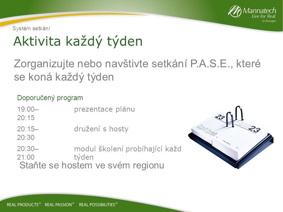 Aktivita každý týden Zorganizujte nebo navštivte setkání P.A.S.E., které se koná každý týden Doporučený program 19:00– 20:15 prezentace plánu 20:15– 2