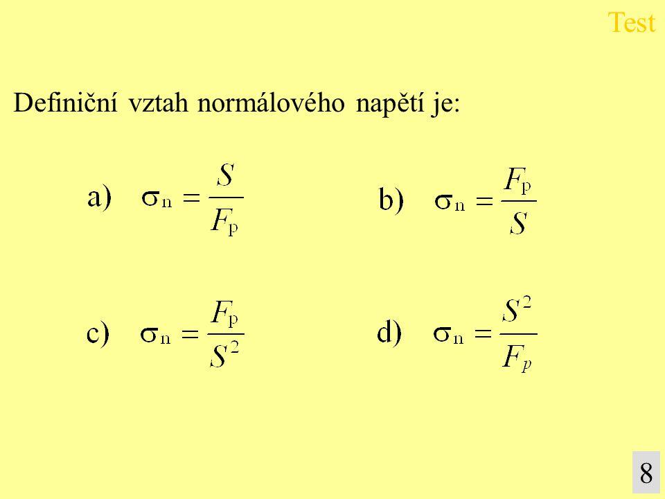 Definiční vztah normálového napětí je: Test 8
