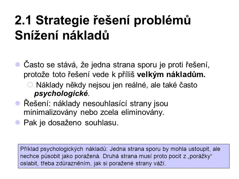 2.1 Strategie řešení problémů Snížení nákladů Často se stává, že jedna strana sporu je proti řešení, protože toto řešení vede k příliš velkým nákladům