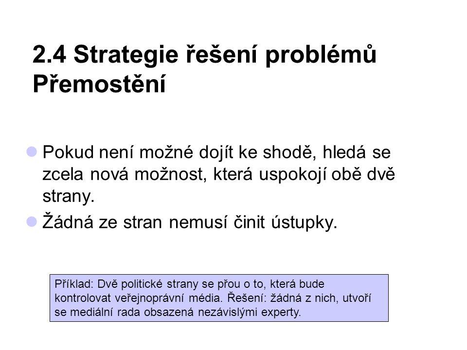 2.4 Strategie řešení problémů Přemostění Pokud není možné dojít ke shodě, hledá se zcela nová možnost, která uspokojí obě dvě strany. Žádná ze stran n