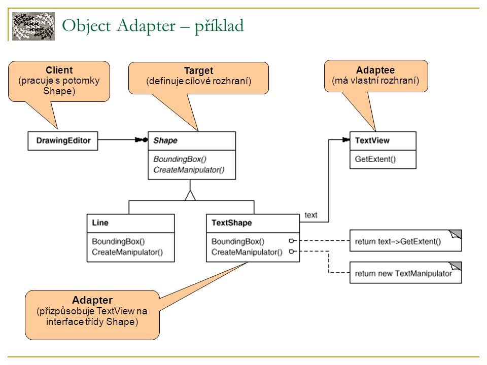 Object Adapter – příklad Adaptee (má vlastní rozhraní) Adapter (přizpůsobuje TextView na interface třídy Shape) Client (pracuje s potomky Shape) Target (definuje cílové rozhraní)