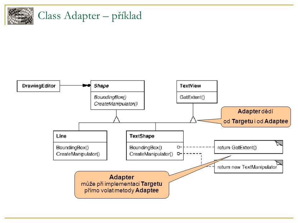 Class Adapter – příklad Adapter dědí od Targetu i od Adaptee Adapter může při implementaci Targetu přímo volat metody Adaptee