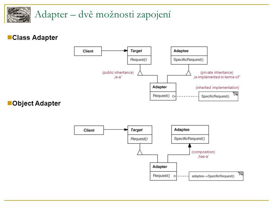 Adapter – použití Kdy použít  Použití existující třídy s nekompatibilním rozhraním  Vytváření znovupoužitelné třídy, která používá třídy s potenciálně nekompatibilním rozhraním  Použití několika existujících podtříd - nepraktické adaptovat dědičností Adaptujeme rodiče Pouze Object Adapter Známé použití  Pluggable Adapter ve Swing nebo GTK javax.swing.tree.TreeModel – definuje rozhraní, které musí uživatel adaptovat, aby mohl svou datovou strukturu zobrazovat pomocí komponenty JTree.