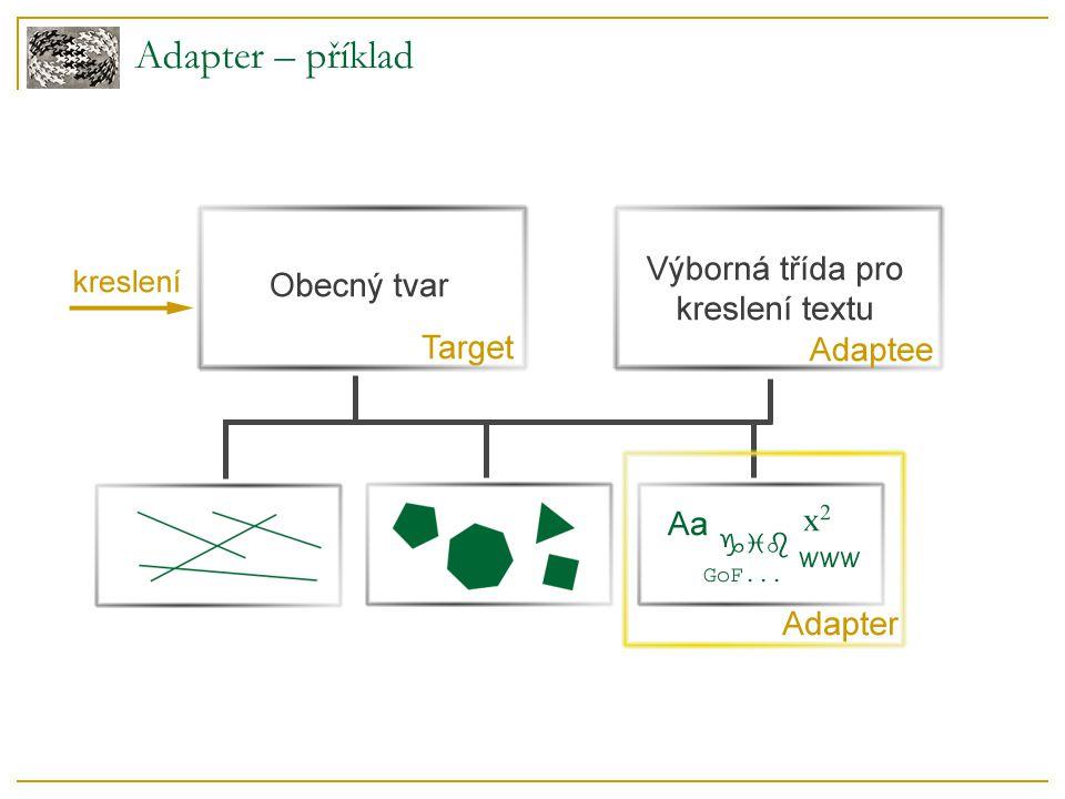 class Shape { virtual void BoundingBox(Point& bottomLeft, Point& topRight ) const; virtual Manipulator* CreateManipulator() const; }; class TextView { void GetOrigin(Coord& x, Coord& y); void GetExtent(Coord& width, Coord& height); virtual bool IsEmpty() const; }; Adaptee TextView implementuje některé metody, ale v jiném rozhraní Target Shape definuje cílové rozhraní