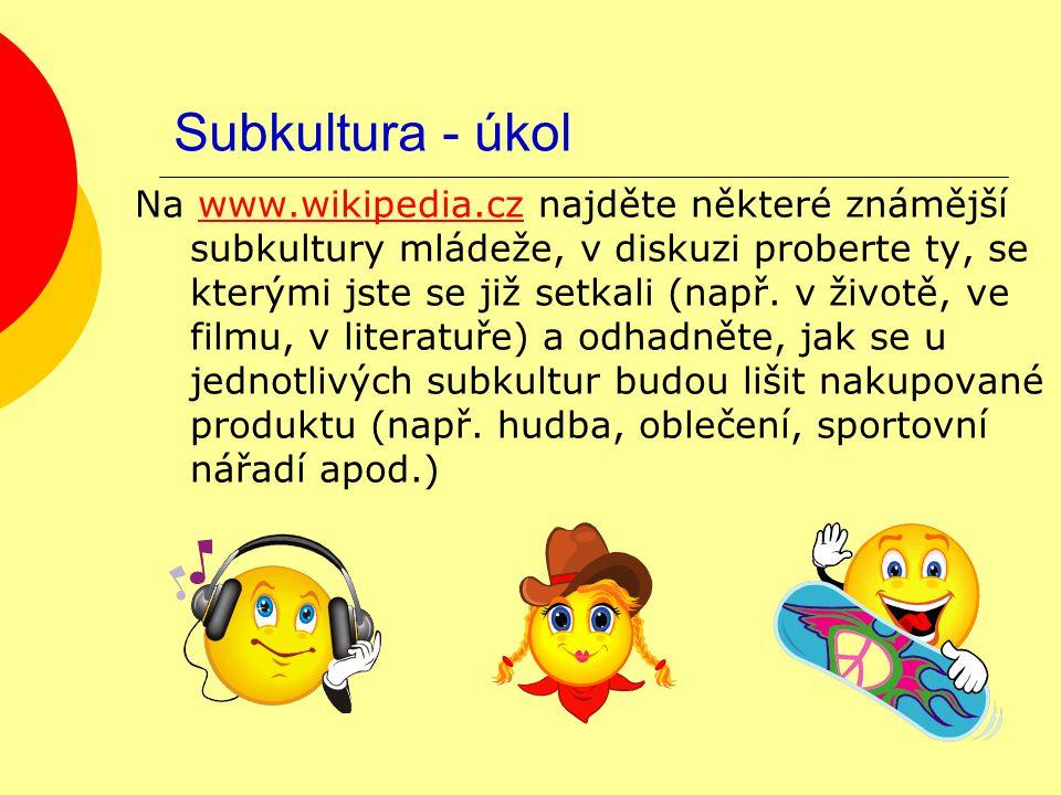 Subkultura - úkol Na www.wikipedia.cz najděte některé známější subkultury mládeže, v diskuzi proberte ty, se kterými jste se již setkali (např. v živo