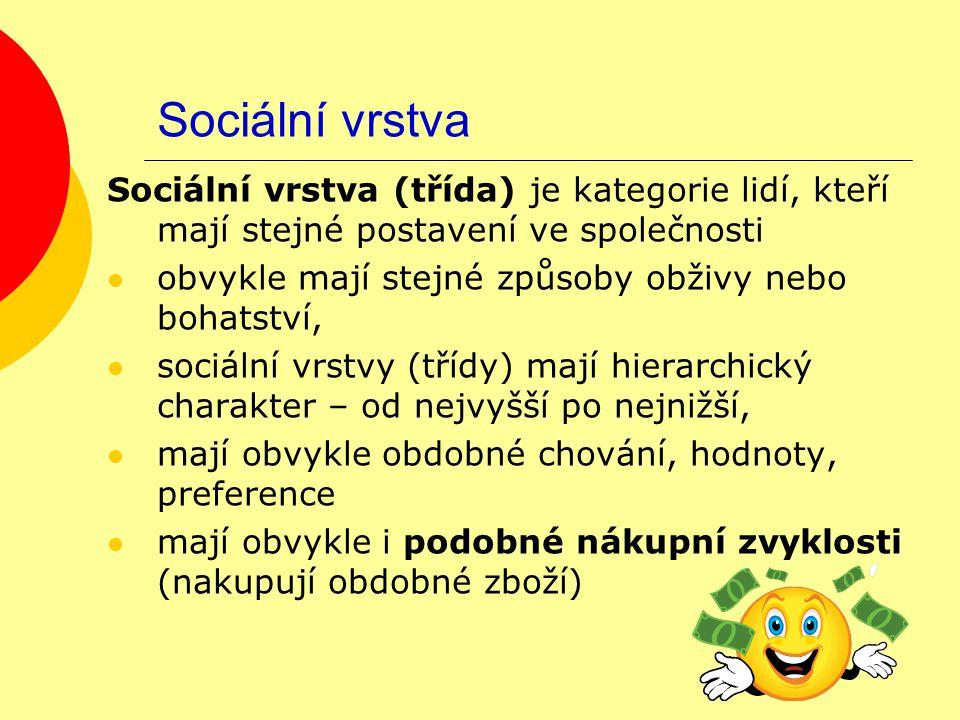 Sociální vrstva Sociální vrstva (třída) je kategorie lidí, kteří mají stejné postavení ve společnosti obvykle mají stejné způsoby obživy nebo bohatstv