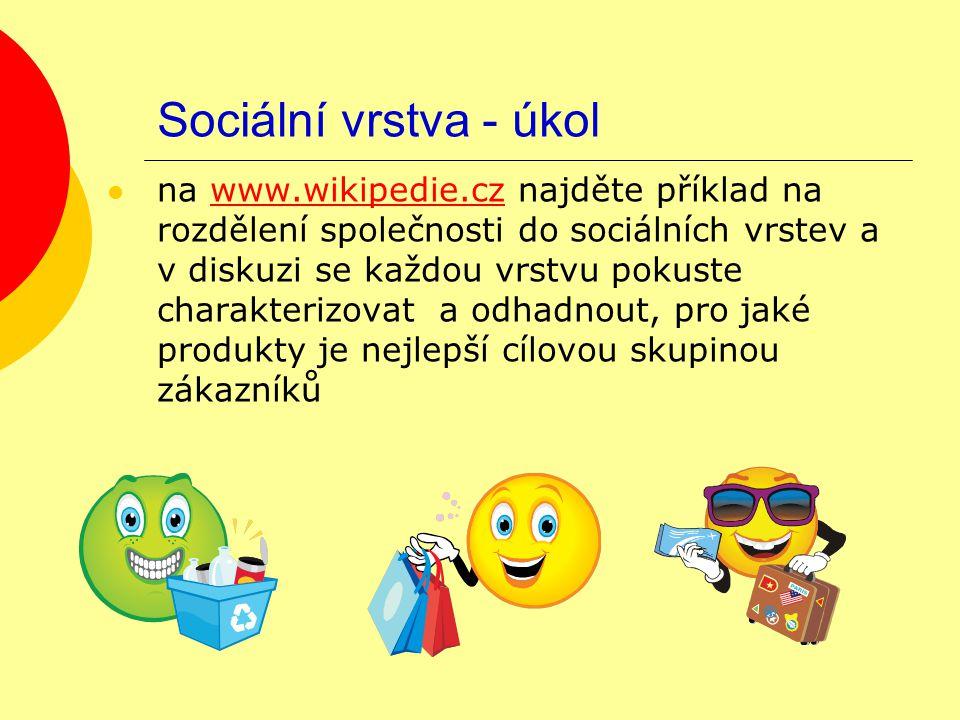 Sociální vrstva - úkol na www.wikipedie.cz najděte příklad na rozdělení společnosti do sociálních vrstev a v diskuzi se každou vrstvu pokuste charakte