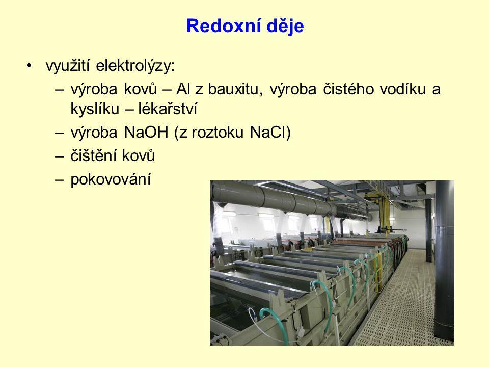 využití elektrolýzy: –v–výroba kovů – Al z bauxitu, výroba čistého vodíku a kyslíku – lékařství –v–výroba NaOH (z roztoku NaCl) –č–čištění kovů –p–pokovování
