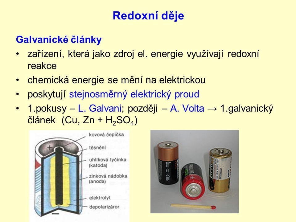 Galvanické články nejvyužívanější je suchý článek = monočlánek = baterie: –k–katoda – uhlíková tyčinka + MnO 2 + grafit –a–anoda – zinková nádoba –e–elektrolyt – NH 4 Cl –n–napětí 1,5 V nevýhodou GČ – vybití → akumulátory – znovu nabíjení (princip elektrolýzy) užití: –G–GČ – fotoaparáty, hodiny, svítilny, kalkulačky (alkaline → elektrolyt KOH) –a–akumulátory – mobily (nabíječka mění střídavý proud na stejnosměrný), olověné akumulátory – automobily + obr.