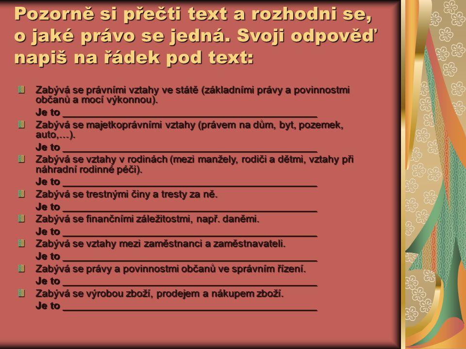 Pozorně si přečti text a rozhodni se, o jaké právo se jedná.