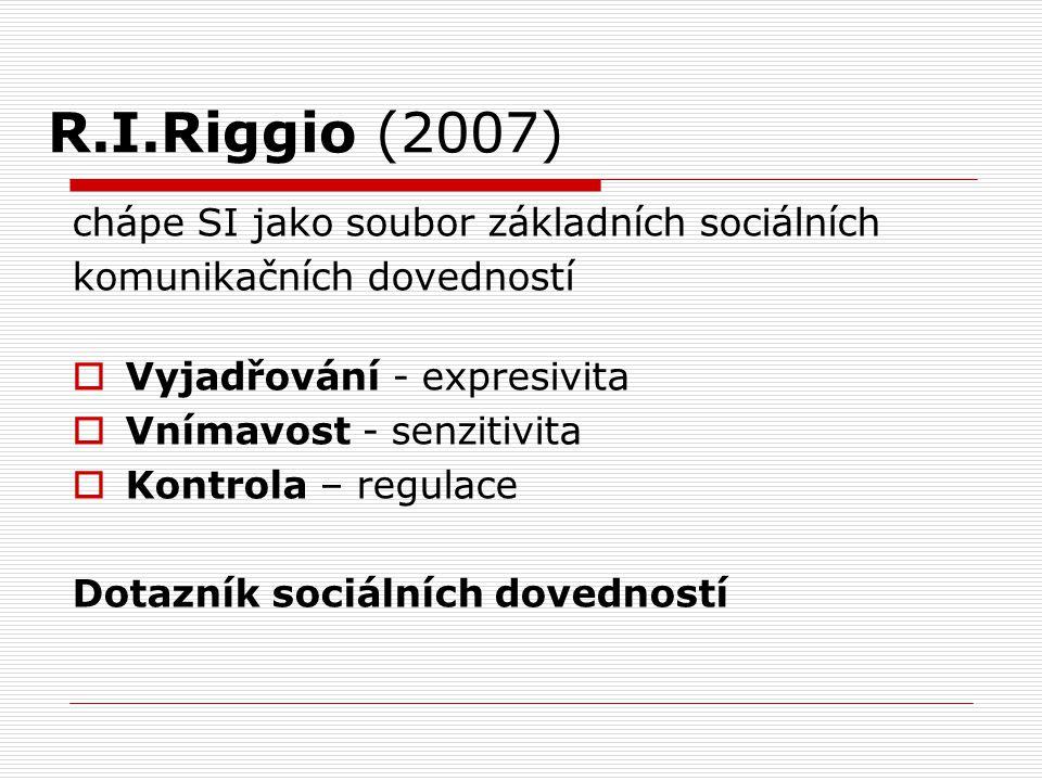 R.I.Riggio (2007) chápe SI jako soubor základních sociálních komunikačních dovedností  Vyjadřování - expresivita  Vnímavost - senzitivita  Kontrola
