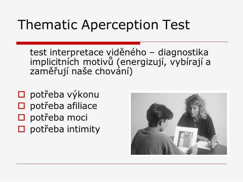 Thematic Aperception Test test interpretace viděného – diagnostika implicitních motivů (energizují, vybírají a zaměřují naše chování)  potřeba výkonu