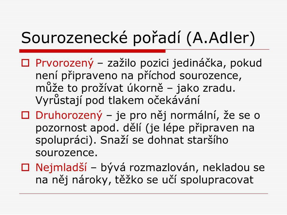 Sourozenecké pořadí (A.Adler)  Prvorozený – zažilo pozici jedináčka, pokud není připraveno na příchod sourozence, může to prožívat úkorně – jako zrad