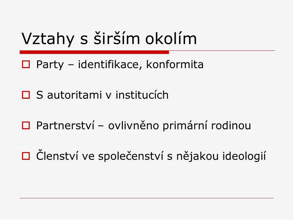 Vztahy s širším okolím  Party – identifikace, konformita  S autoritami v institucích  Partnerství – ovlivněno primární rodinou  Členství ve společ