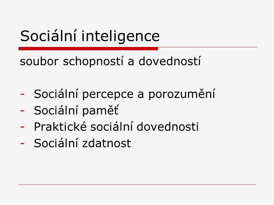 Sociální inteligence soubor schopností a dovedností -Sociální percepce a porozumění -Sociální paměť -Praktické sociální dovednosti -Sociální zdatnost