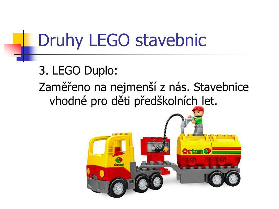 Druhy LEGO stavebnic 3. LEGO Duplo: Zaměřeno na nejmenší z nás. Stavebnice vhodné pro děti předškolních let.