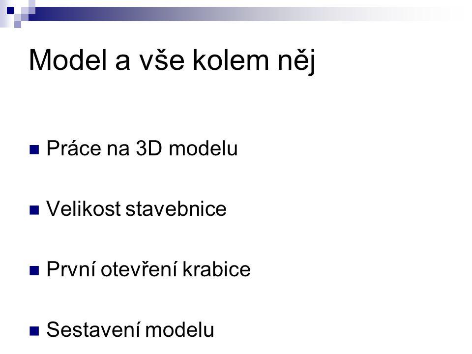 Model a vše kolem něj Práce na 3D modelu Velikost stavebnice První otevření krabice Sestavení modelu