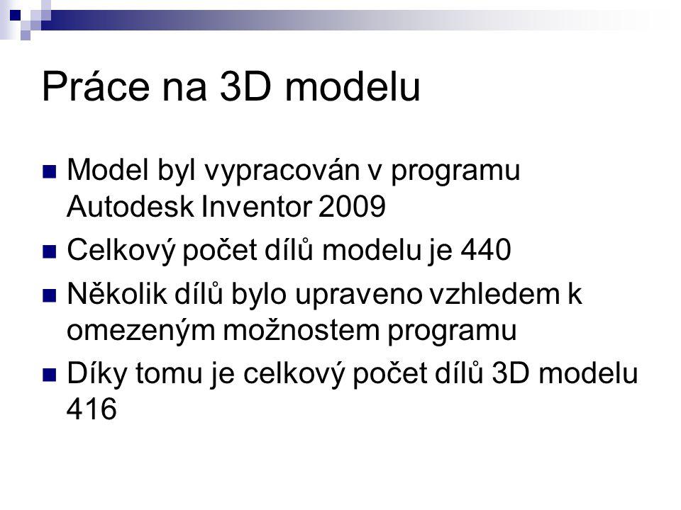 Práce na 3D modelu Model byl vypracován v programu Autodesk Inventor 2009 Celkový počet dílů modelu je 440 Několik dílů bylo upraveno vzhledem k omeze
