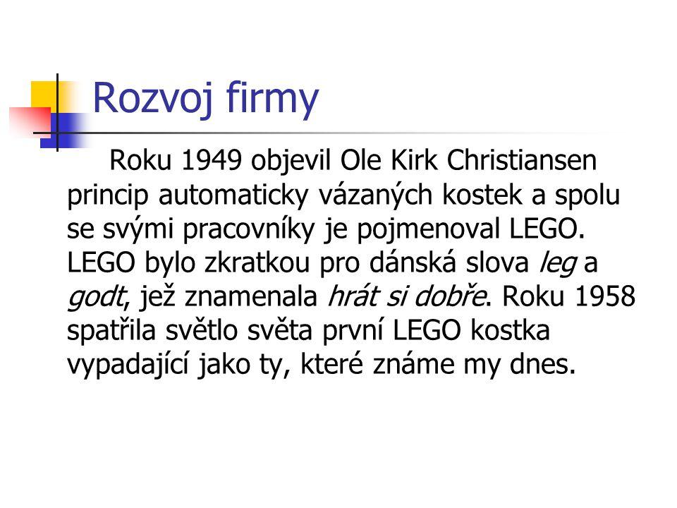 Rozvoj firmy Roku 1949 objevil Ole Kirk Christiansen princip automaticky vázaných kostek a spolu se svými pracovníky je pojmenoval LEGO. LEGO bylo zkr