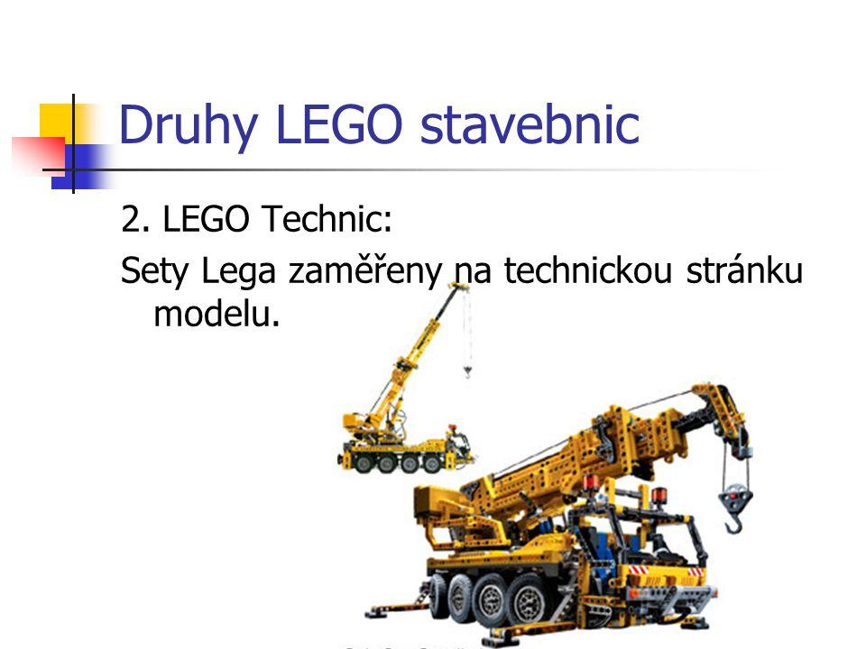 Druhy LEGO stavebnic 2. LEGO Technic: Sety Lega zaměřeny na technickou stránku modelu.