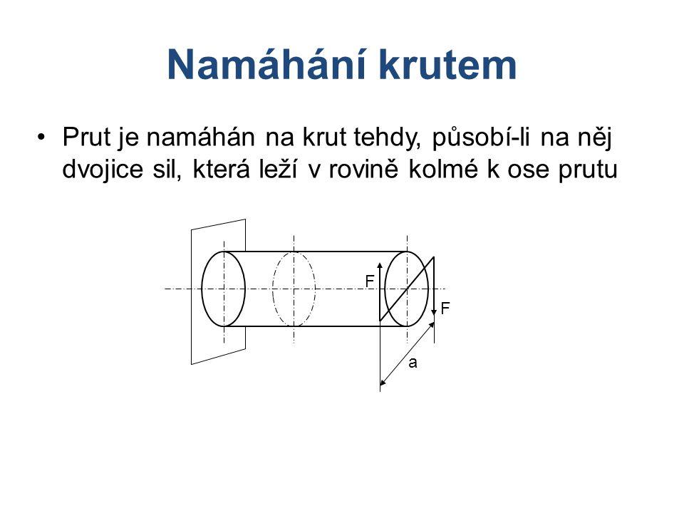 Namáhání krutem Prut je namáhán na krut tehdy, působí-li na něj dvojice sil, která leží v rovině kolmé k ose prutu F F a