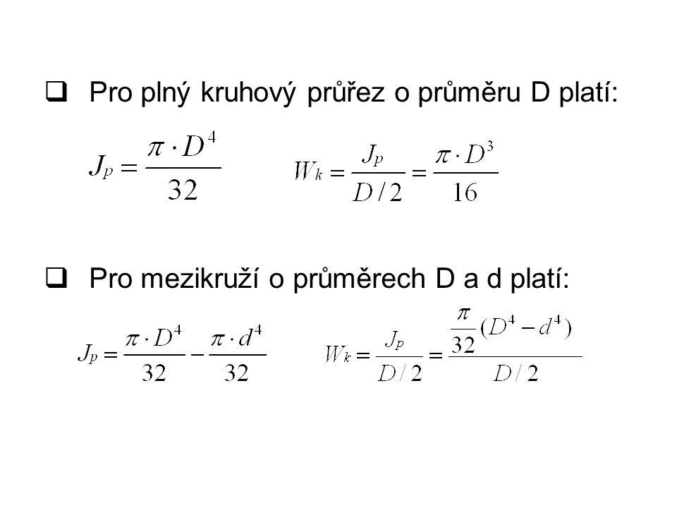  Pro plný kruhový průřez o průměru D platí:  Pro mezikruží o průměrech D a d platí: