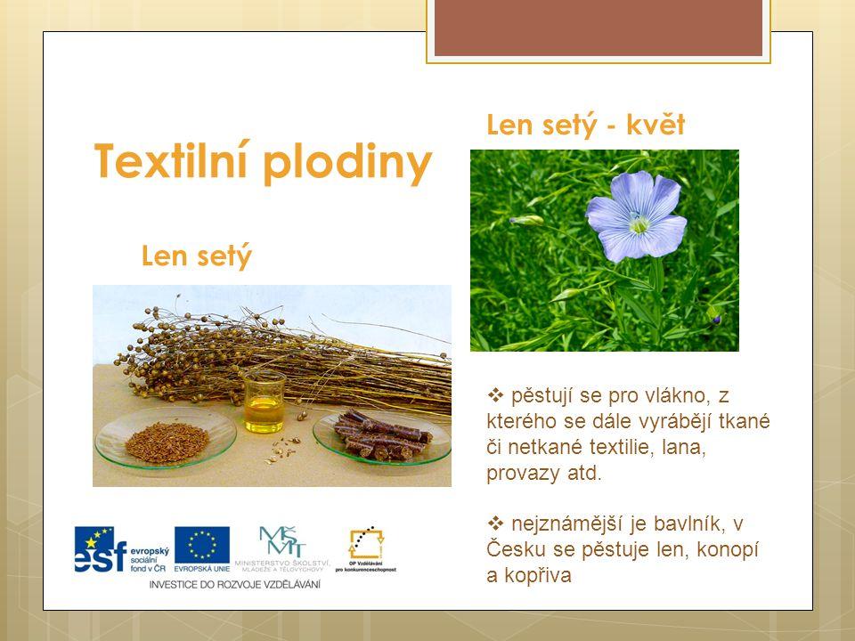 Textilní plodiny Len setý Len setý - květ  pěstují se pro vlákno, z kterého se dále vyrábějí tkané či netkané textilie, lana, provazy atd.  nejznámě