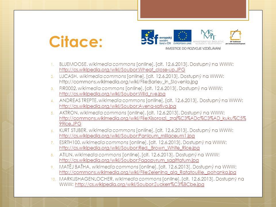 Citace: 1. BLUEMOOSE. wikimedia commons [online]. [cit. 12.6.2013]. Dostupný na WWW: http://cs.wikipedia.org/wiki/Soubor:Wheat_close-up.JPG http://cs.