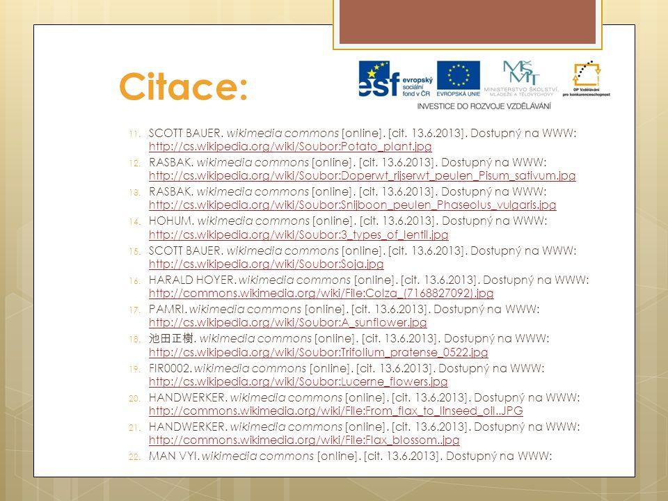 Citace: 11. SCOTT BAUER. wikimedia commons [online]. [cit. 13.6.2013]. Dostupný na WWW: http://cs.wikipedia.org/wiki/Soubor:Potato_plant.jpg http://cs
