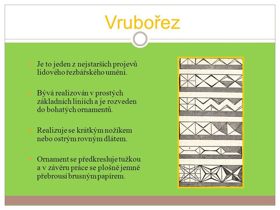 Vrubořez 1. Ukázka postupu práce s dlátem. 2. Vzory aplikované na výrobcích.