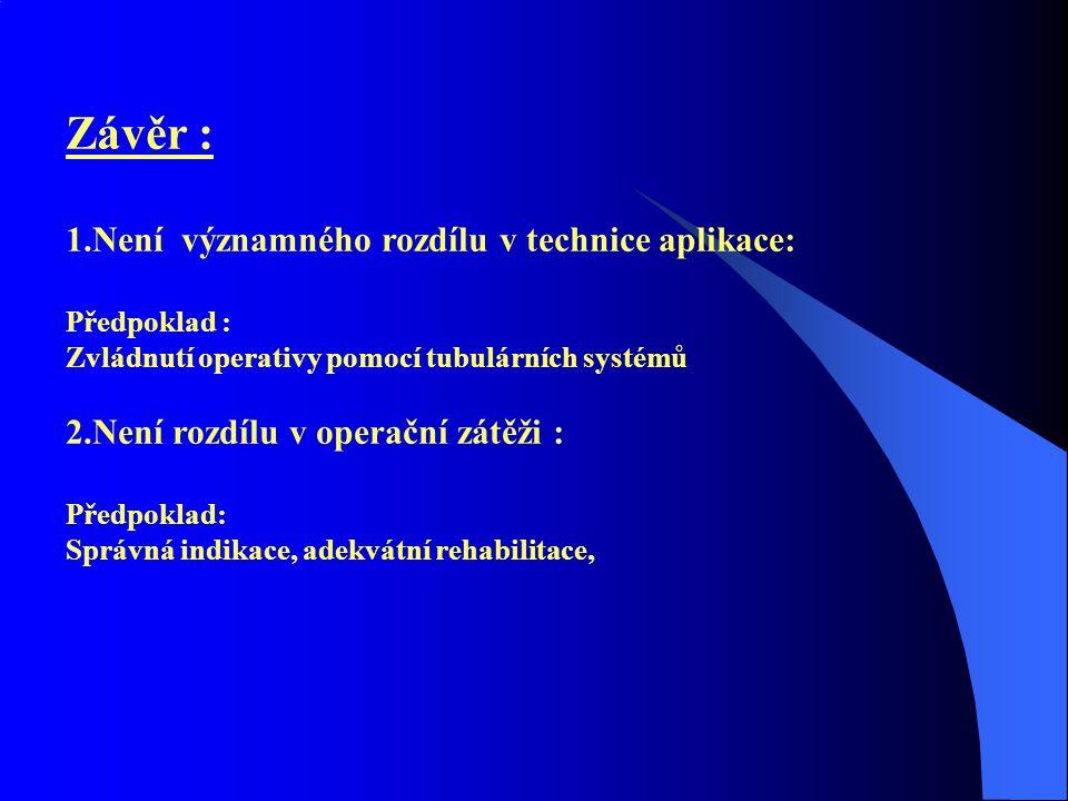 Závěr : 1.Není významného rozdílu v technice aplikace: Předpoklad : Zvládnutí operativy pomocí tubulárních systémů 2.Není rozdílu v operační zátěži : Předpoklad: Správná indikace, adekvátní rehabilitace,