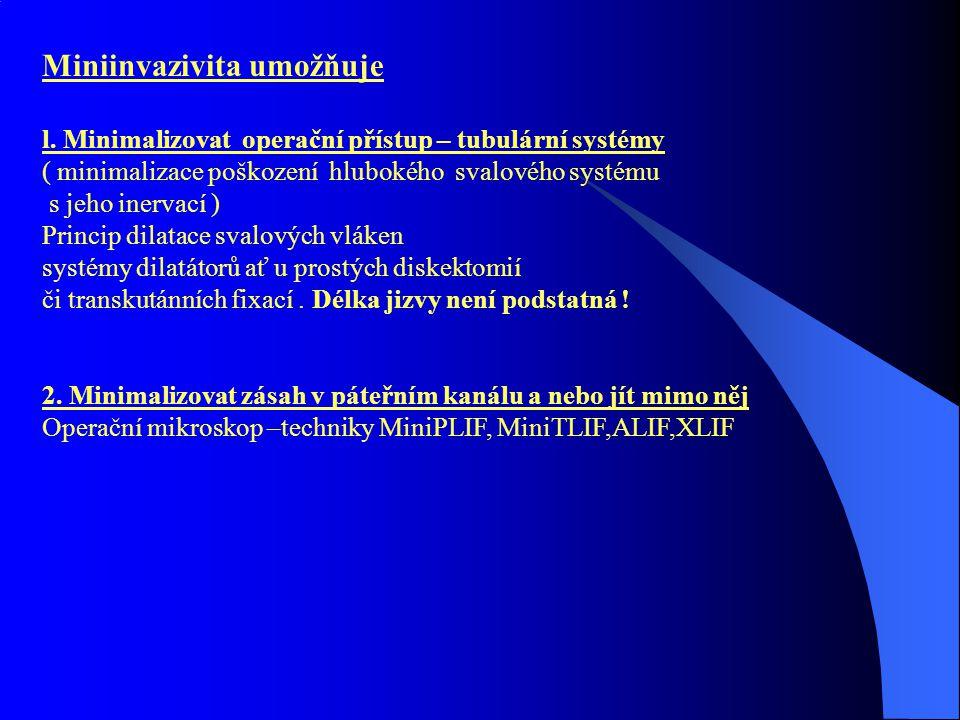 Miniinvazivita umožňuje l. Minimalizovat operační přístup – tubulární systémy ( minimalizace poškození hlubokého svalového systému s jeho inervací ) P