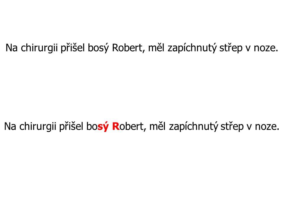 Na chirurgii přišel bosý Robert, měl zapíchnutý střep v noze.