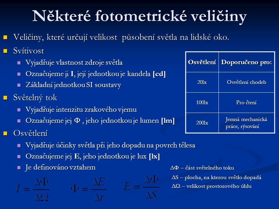 Některé fotometrické veličiny Veličiny, které určují velikost působení světla na lidské oko. Veličiny, které určují velikost působení světla na lidské