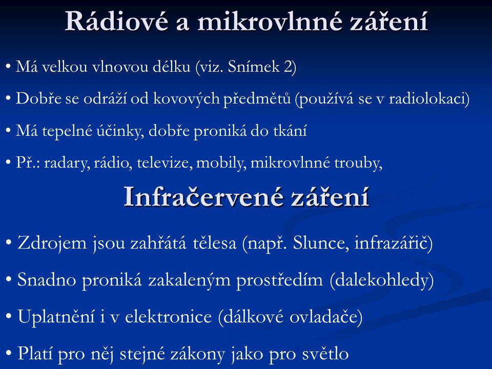 Ultafialové záření Okem zachytitelné elektromagnetické záření Okem zachytitelné elektromagnetické záření Zdrojem jsou vysoce zahřátá tělesa Zdrojem jsou vysoce zahřátá tělesa Např.