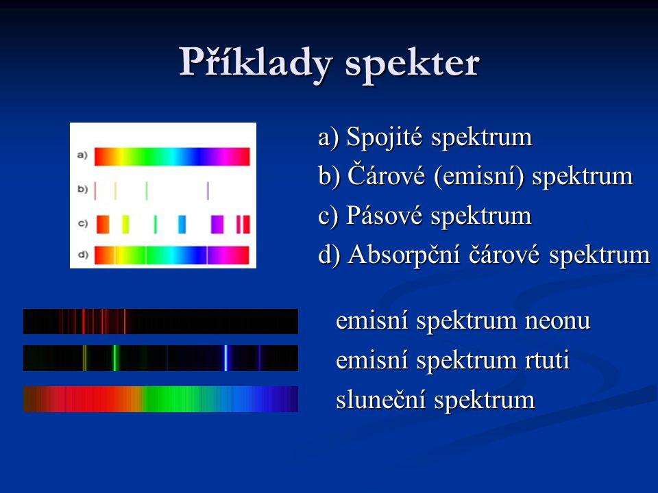 Příklady spekter a) Spojité spektrum a) Spojité spektrum b) Čárové (emisní) spektrum b) Čárové (emisní) spektrum c) Pásové spektrum c) Pásové spektrum