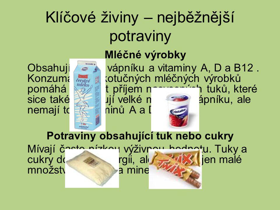 Mléčné výrobky Obsahují hodně vápníku a vitaminy A, D a B12.