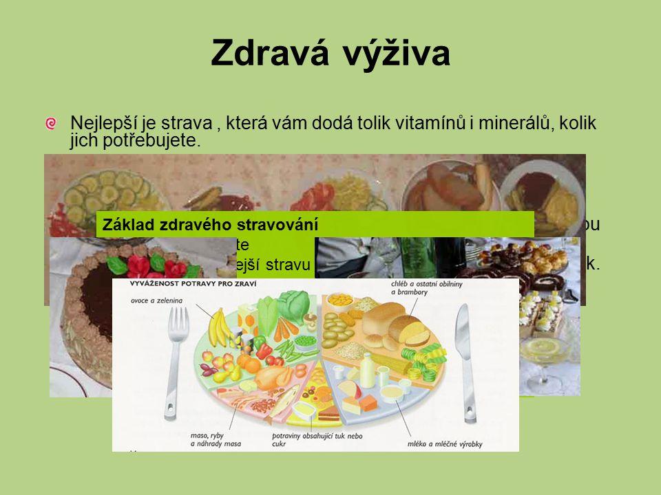 Živiny Nejdůležitější složkou potravin jsou živiny.