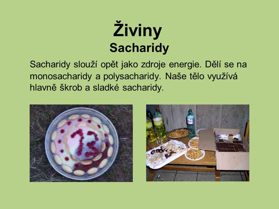 Sacharidy slouží opět jako zdroje energie.Dělí se na monosacharidy a polysacharidy.