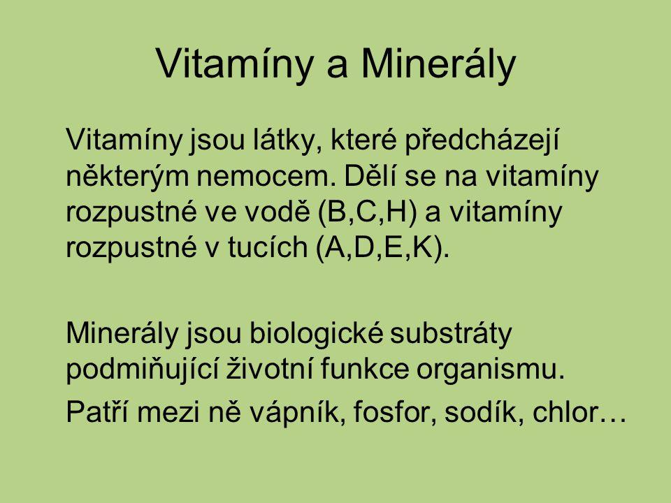 Vitamíny a Minerály Vitamíny jsou látky, které předcházejí některým nemocem.