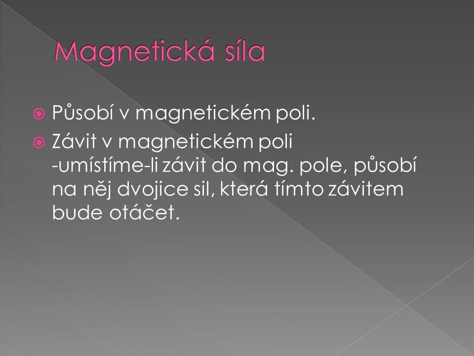  Působí v magnetickém poli.  Závit v magnetickém poli -umístíme-li závit do mag.
