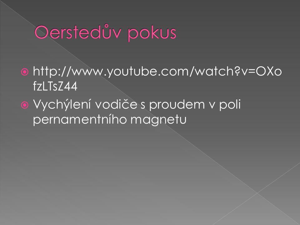  http://www.youtube.com/watch v=OXo fzLTsZ44  Vychýlení vodiče s proudem v poli pernamentního magnetu
