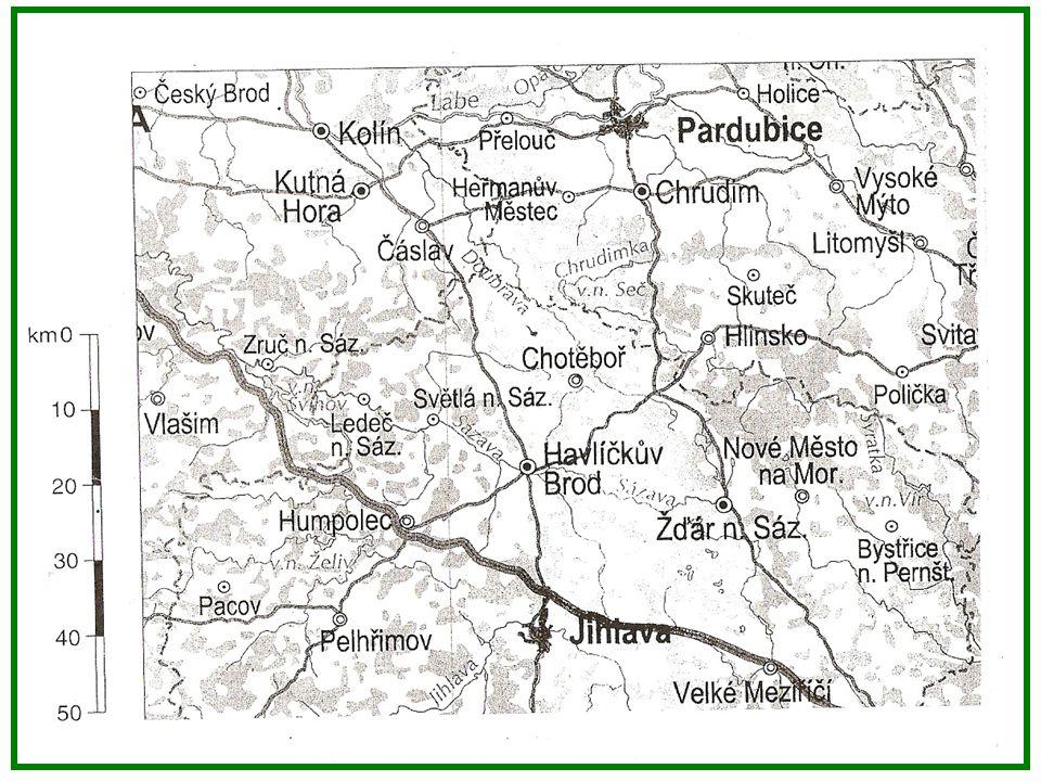 SP: Měření na mapách 1.Změř na mapě vzdušnou vzdálenost mezi Pardubicemi a Jihlavou.