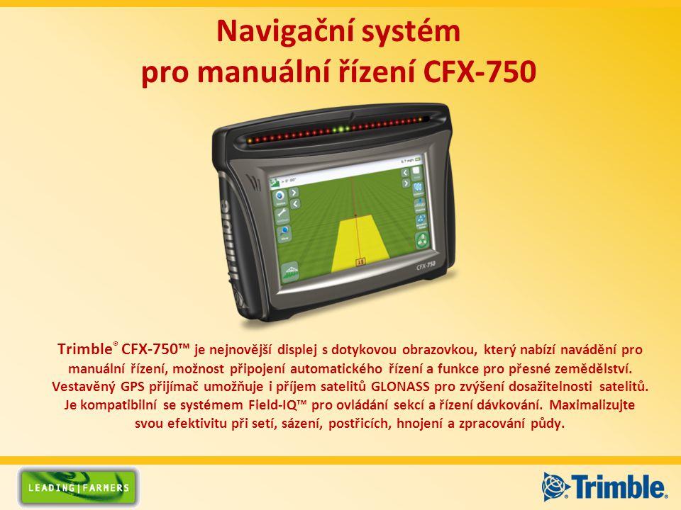 Trimble ® CFX-750™ je nejnovější displej s dotykovou obrazovkou, který nabízí navádění pro manuální řízení, možnost připojení automatického řízení a funkce pro přesné zemědělství.