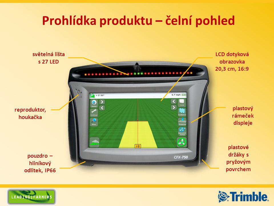 světelná lišta s 27 LED pouzdro – hliníkový odlitek, IP66 plastový rámeček displeje LCD dotyková obrazovka 20,3 cm, 16:9 plastové držáky s pryžovým povrchem reproduktor, houkačka Prohlídka produktu – čelní pohled